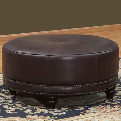 """Features:  Design: -Pouf.  Upholstery Color: -Brown.  Finish: -Copper.  Upholstery Material: -Leather. Dimensions:  Overall Height - Top to Bottom: -18"""".  Overall Width - Side to Side: -36"""".  Overall"""