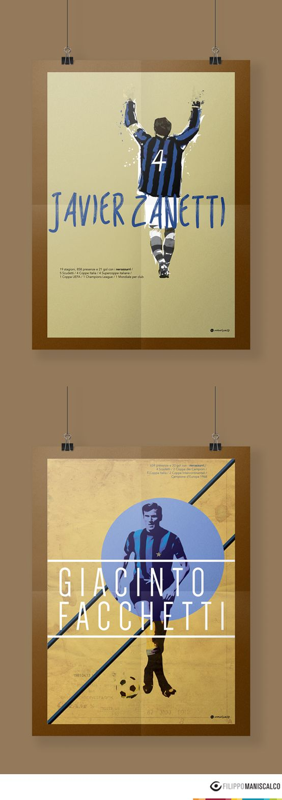 Collection of nine players on the illustrations of the 'Series A, the most beautiful championship in the world'. Graphic reproductions made through different styles. #SerieAPoster #Zanetti #Facchetti #FCInter   In Stock $33.28