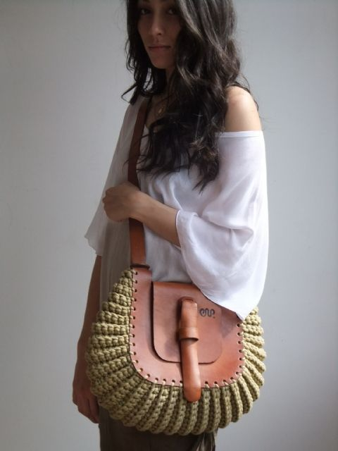Thick leather and crochet beige cotton cord bag. Made in Brazil.  this is beautiful!