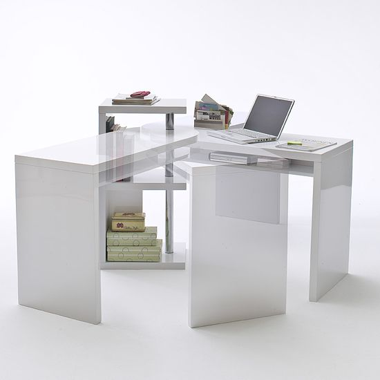 Sydney Rotating Office Desk In High Gloss White 40126w