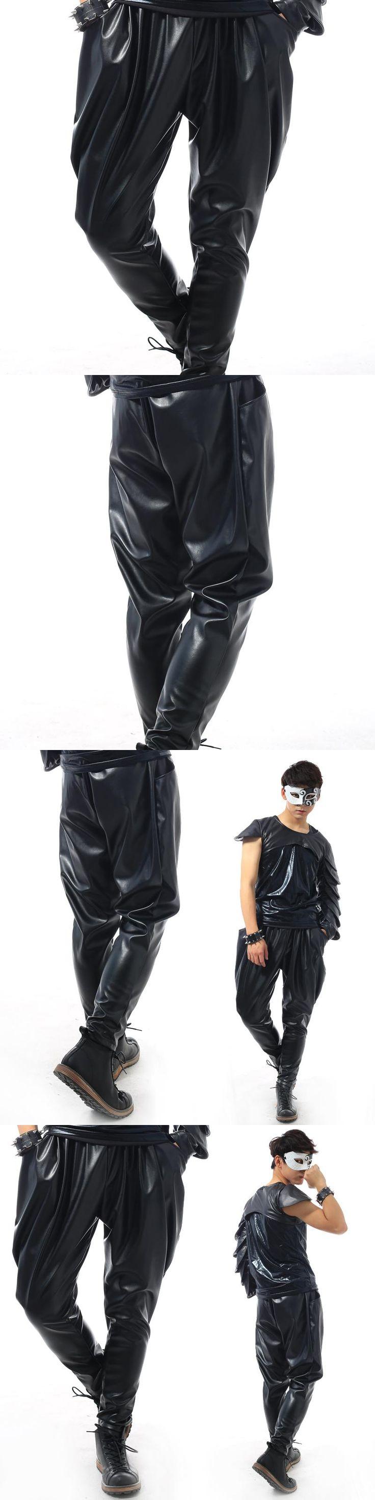 Stage personality men leather pants harem pant men feet trousers singer dance rock fashion elasticity street star style black