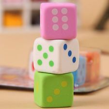 Creative Rubber Student's Stationery Cute Dice Shaped Eraser Novelty Gifts 6Pcs