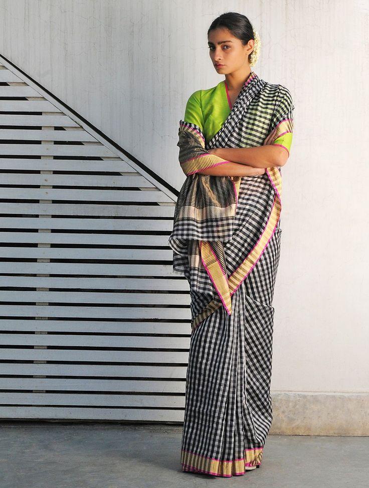 Bali Black-White Chanderi Handwoven Saree By Raw Mango : Pinned by Sujayita