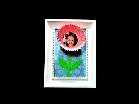 Muffin paper flower photo frame art craft - diy ideas tutorial Ikea hack gift creation wall room