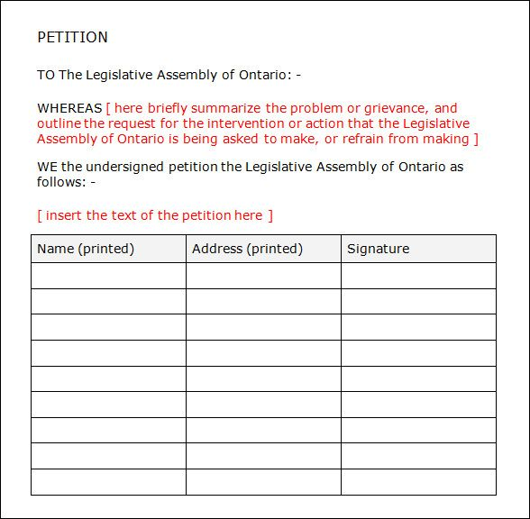 image result for neighborhood petition template