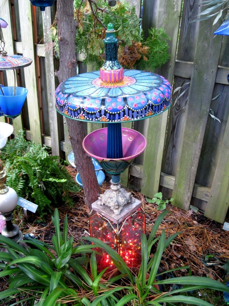 donnas art at mourning dove cottage whimsical garden lamps and bird feeders