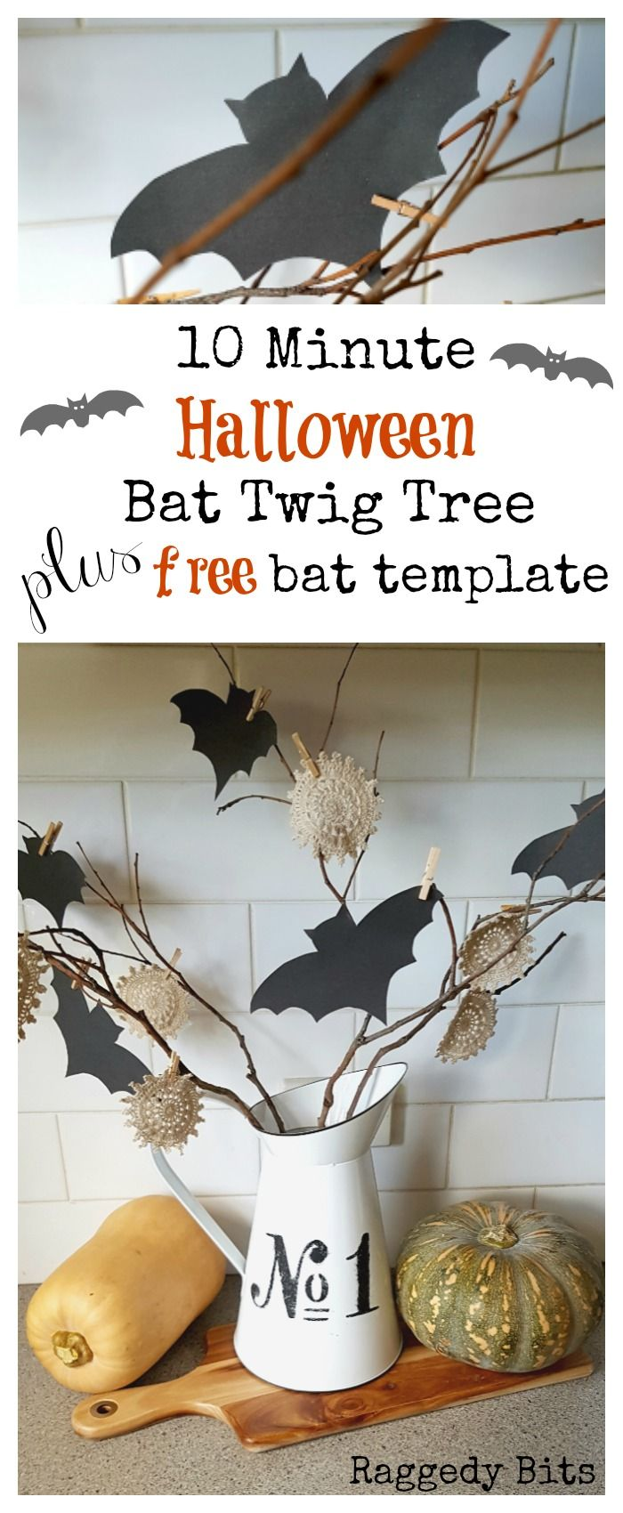 A fun 10 Minute Halloween Bat Twig Tree to add to your decorating this Halloween   Free Bat Template   www.raggedy-bits.com