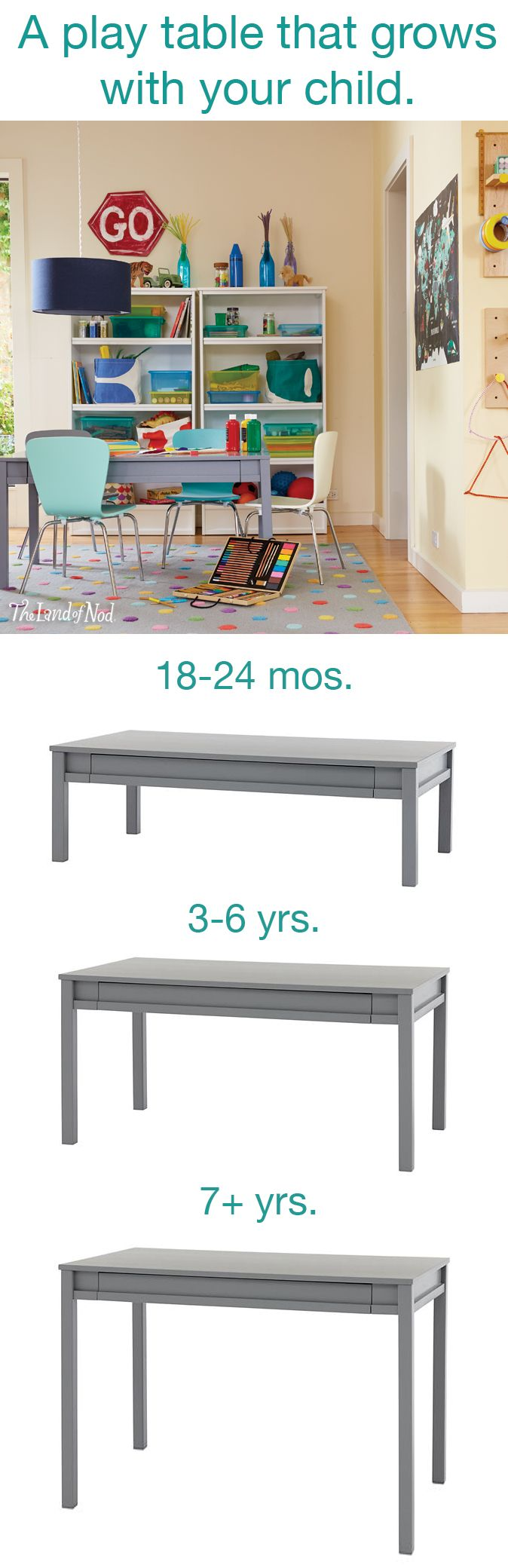 """The Land of Nod's exclusive Extracurricular Activity Table is designed to grow as your child grows. The 15"""" height is perfect for toddlers to stand at or use as a train table. Then switch out to the 23"""" legs, add play chairs, and you have the perfect size for school age kids to use as an art table or for games. Then, at around age 7, swap the legs again, and you have a full-size desk that accommodates an adult-sized chair."""