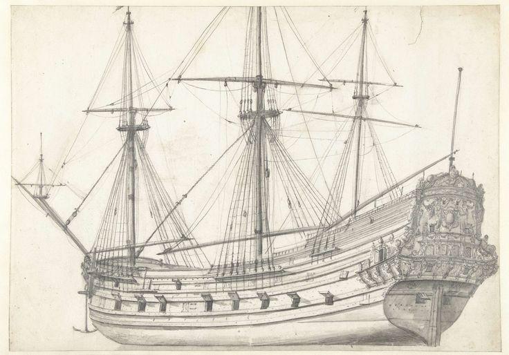 Jan Abrahamsz. Beerstraten | Driemaster van de Amsterdamse Admiraliteit, Jan Abrahamsz. Beerstraten, 1600 - 1699 | Een oorlogsschip met aan de rechterkant een rijk met beeldhouwwerk versierde spiegel.