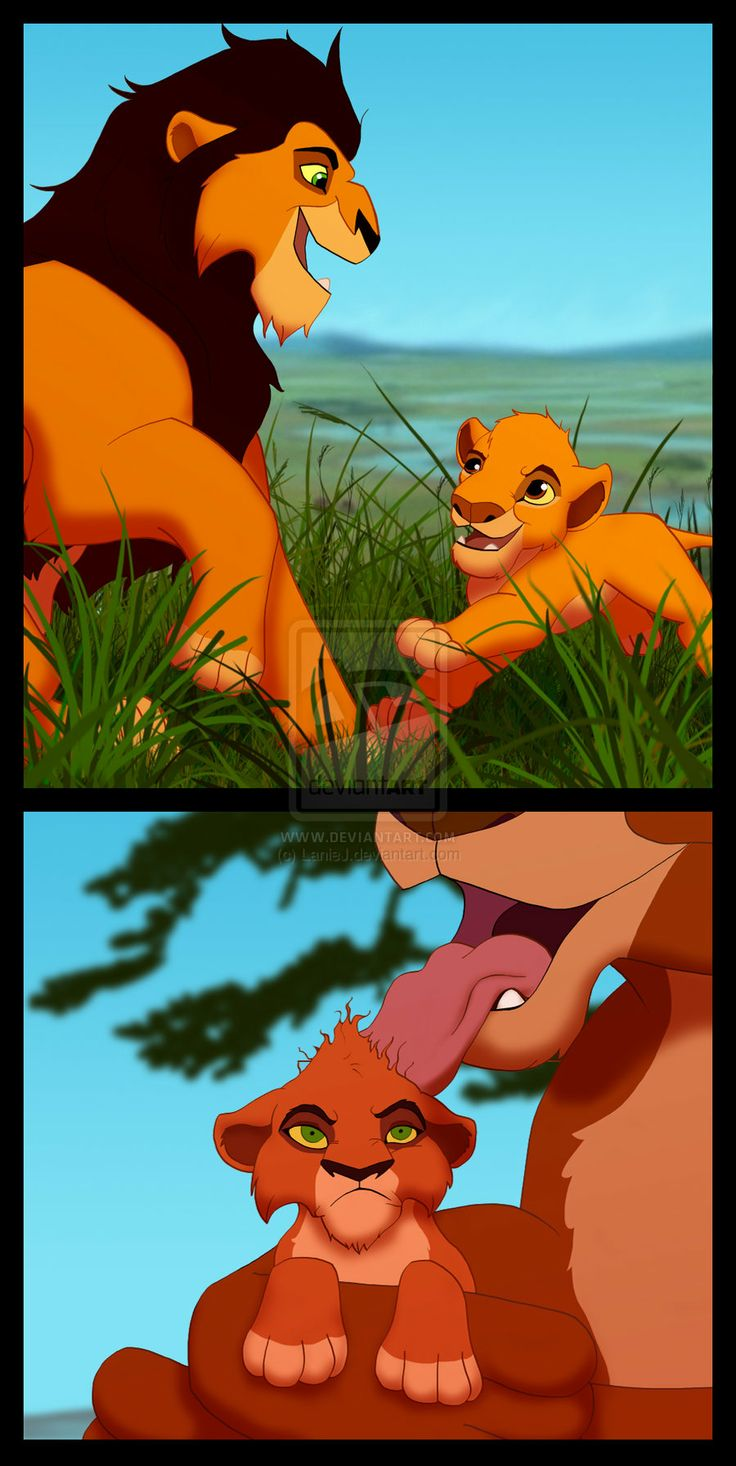Here s a picture of young mufasa playing with his dad ahadi and a young taka scar before the scar being groomed by his mom uru