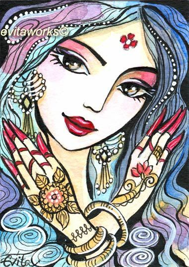 India Henna Tattoo  Hands Girl   Hands of India  Art by evitaworks, $6.50