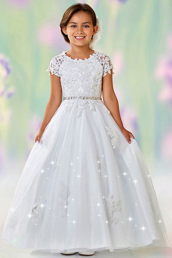 526d24c6e2 Stunning Tulle Jewel Neckline Cap Sleeves Floor-length A-line Flower Girl  Dresses With Lace Appliques   Beadings
