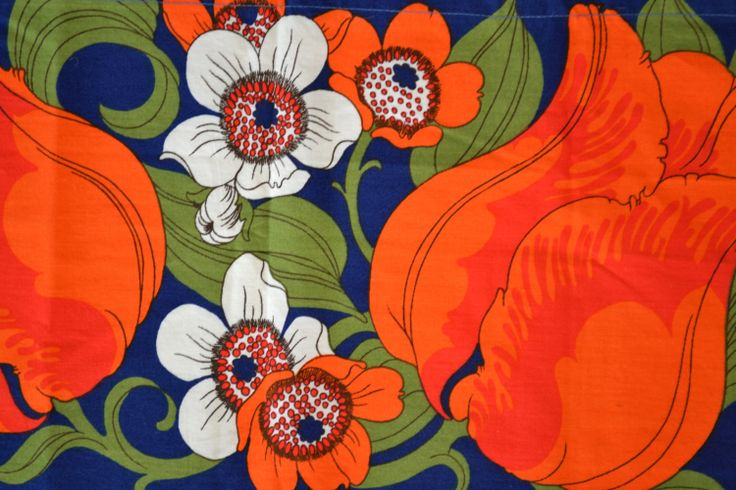 Scandinavian retro fabric tulips vintage by Scandinaviavandesign, kr120.00