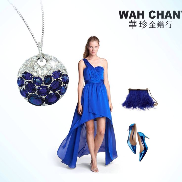 A littleThursday outfit inspiration.  Now, you can channel romance with Wah Chan's blue sapphire diamond pendant with an asymmetric royal blue tango long gown and strappy blue clutch bag paired with a sexy stilettos. Perfect for that dinner date with your significant other.  #wahchanjewellery #bluesapphire #diamond #sparkling #pendant #asymmetric #eveninggown #luxury #instajewellery #fashionista #accessories