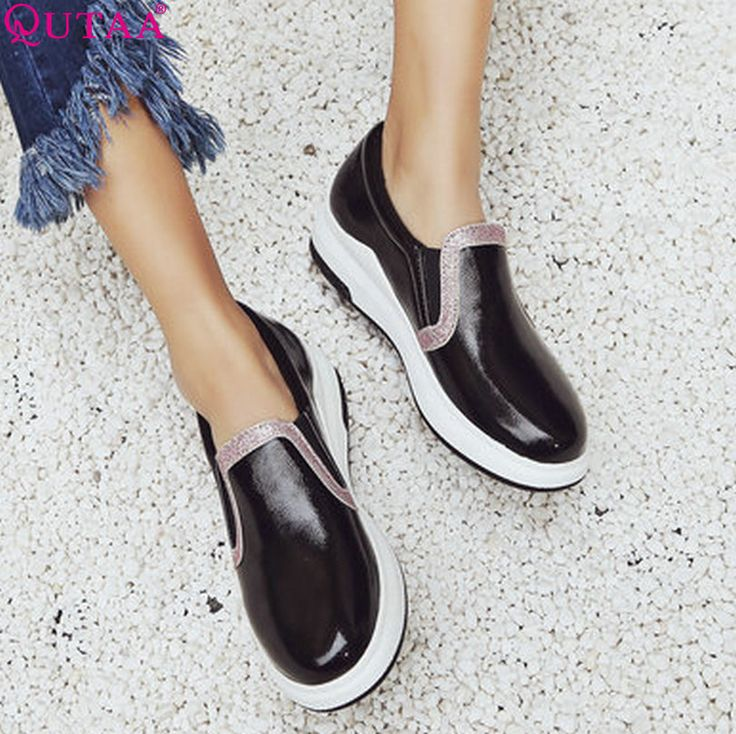 QUTAA 2017 Women Pumps Summer Slip On Ladies Shoe Wedge Low Heel PU Leather Mixed Color Fashion Woman Wedding Shoes Size 34-43