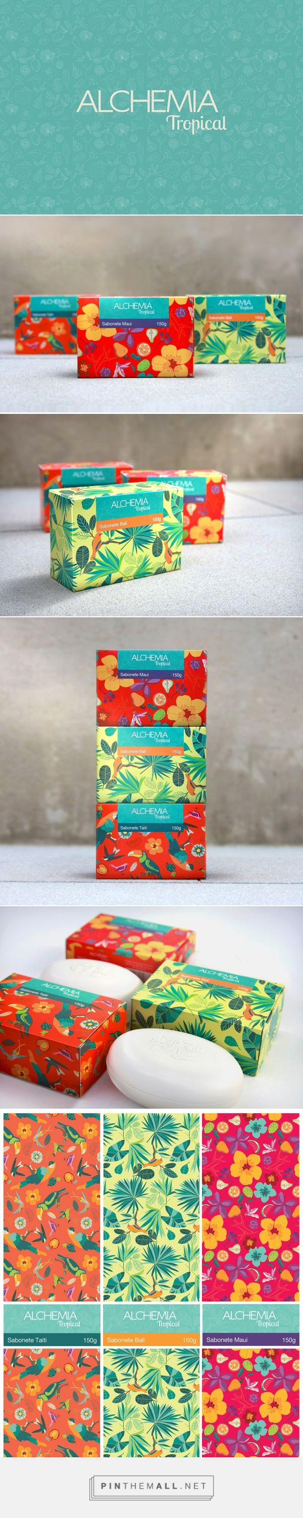 Art direction, illustration and packaging for ALCHEMIA - TROPICAL on Behance curated by Packaging Diva PD.  Very pretty floral packaging for soap.