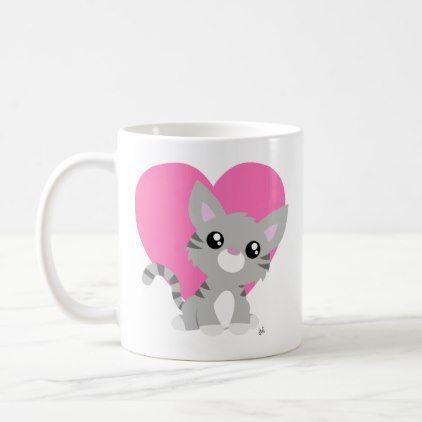 Valentine's Day Grey Kitty Mug | Zazzle.com