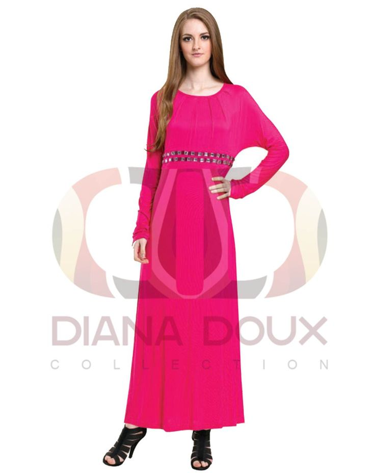 OWJ127-38  Round Neck Jubah Dress with Bead Waist  Color: Pink Size: FREE SIZE Weight: 430g Material: Cotton Measurement : > Shoulder: 40cm  > Sleeve: 68cm  > Length: 134cm  > Bust: 100-112cm Category: Jubah Dress Type: Ready Stock