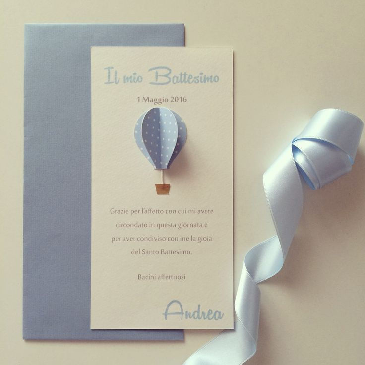 Biglietti di ringrazimento con mini mongolfiera 3D a rilievo.Busta inclusa.Se vuoi personalizzare i tuoi inviti o le tue partecipazioni nozze scrivimi!Il prezzo è cadauno.