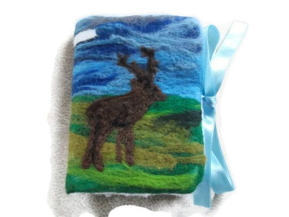 Sewing Needle Book/Case Stag Textile Art by UniquelyYourDesigns, £12.50