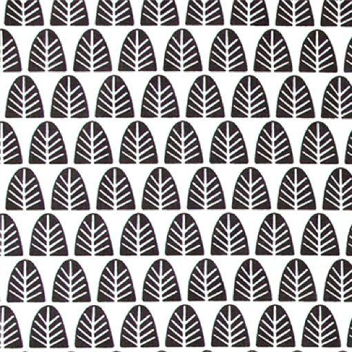 Vævet hvid m sorte grafiske træer