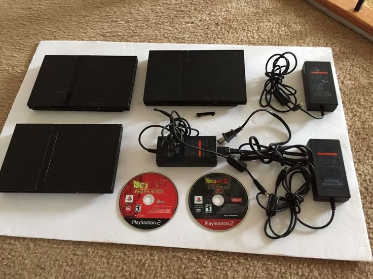 PS2 Playstation 2 Lot of 3 slim Consoles with 2 dragonball z budokai games as is #Sony
