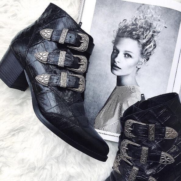 RG: @themarinadiaries feat. our Jagger Multi Buckle Boots in Black Croc Embossed Leather. #Shop straight from our bio. #officeloves #boots