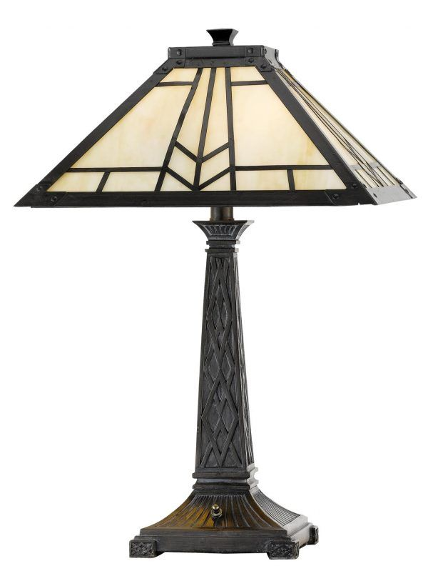 Cal Lighting 60w X 2 Mission Tiffany Table Lamp Craftsman Table