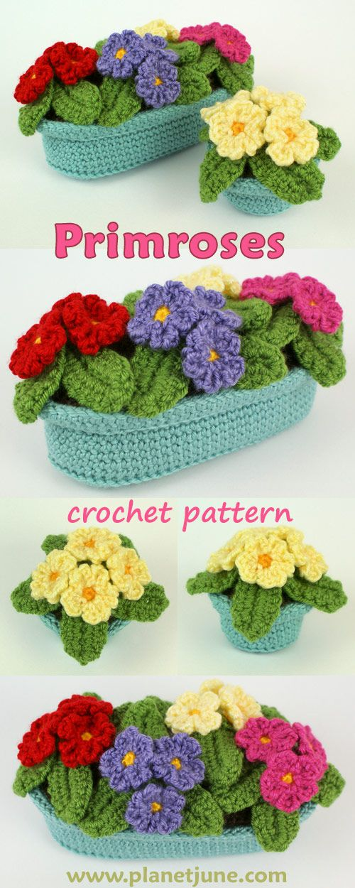 Bring a taste of spring into your home, whatever the season - crochet a pot of primroses to brighten your day in a glorious riot of colour! This crochet pattern includes primrose plants, a small round pot and a long planter.