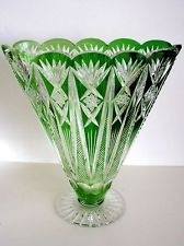 BOHEMIAN VINTAGE EMERALD CASED CUT TO CLEAR LEAD CRYSTAL VASE 33500