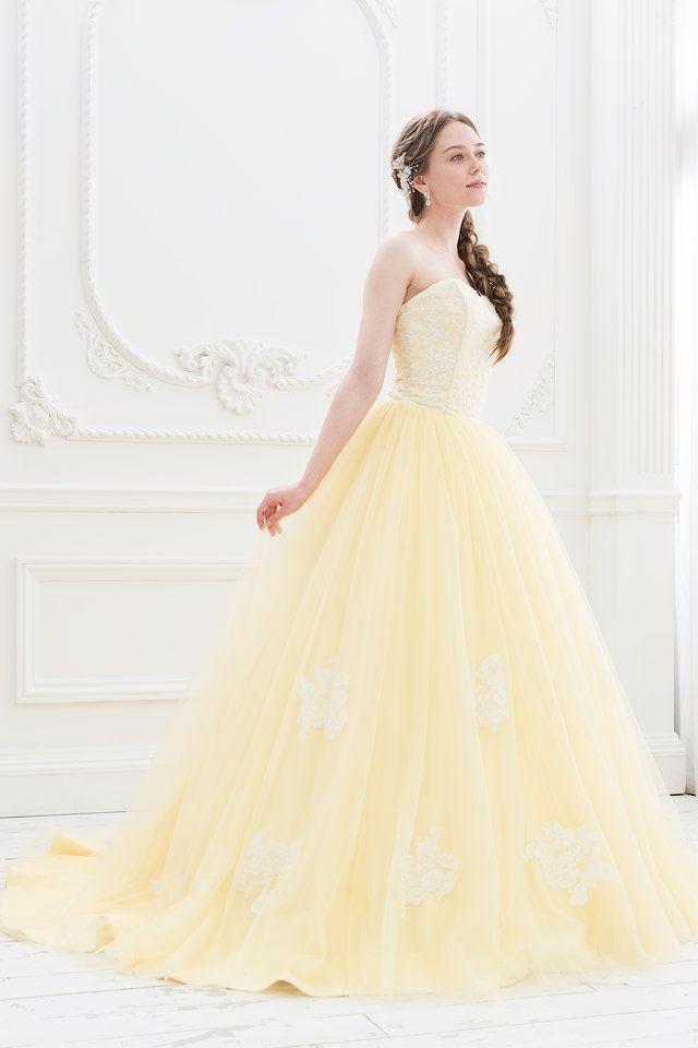 イエローのチュールとレースの大人可愛いカラードレス|SS0884YE