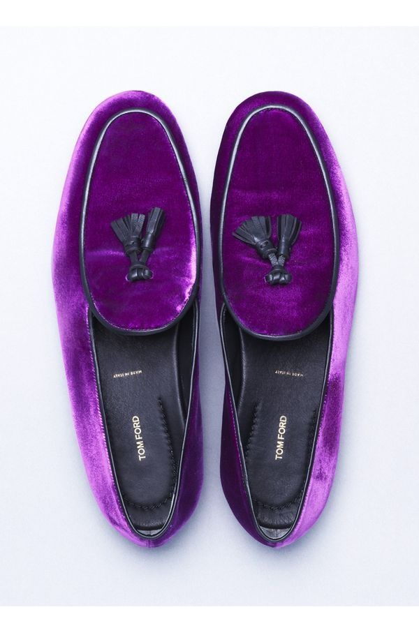 Tom Ford purple velvet loafers with tassels!