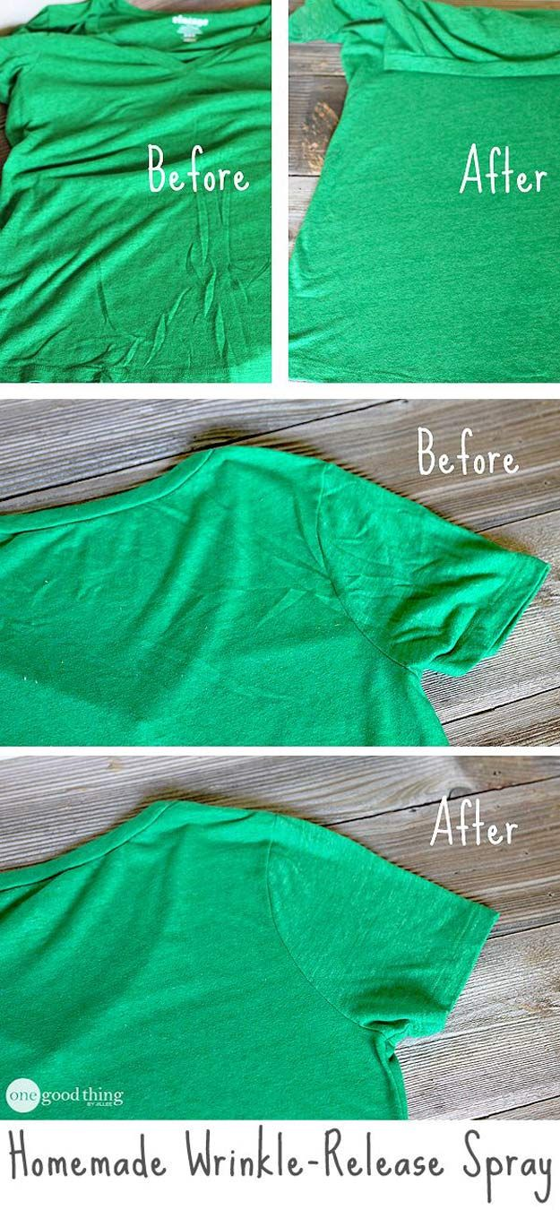 DIY Hacks for Ruined Clothes. Awesome Ideas, Tips and Tricks for Repairing Clothes and Removing Stains in Clothing |  Homemade Wrinkle Release Spray  |  http://diyjoy.com/diy-hacks-for-fixing-ruined-clothes