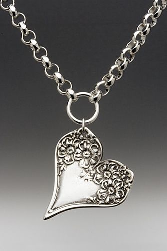 ❥ silver spoon heart necklace