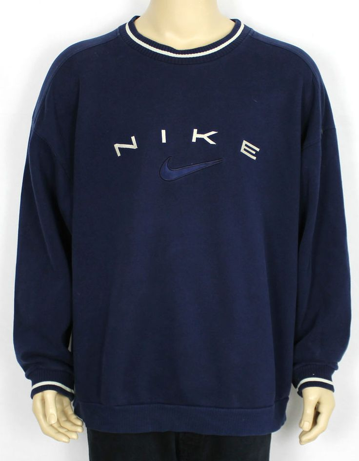 NIKE VINTAGE AUTHENTIC BLUE SWEATSHIRT JUMPER RARE (SIZE XXL) in Clothes, Shoes & Accessories, Men's Clothing, Hoodies & Sweats | eBay - shop online for mens clothing, trendy mens clothing, mens discount clothing