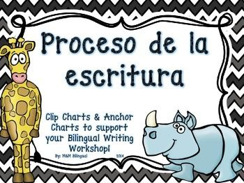 Great visual to introduce the writing process in a bilingual classroom! Clip Chart option to keep students on track with their writing process AND anchor charts that define each step in the writing process.  Includes: 1. Prepararse 2. Escribir 3. Revisar 4. Corregir 5. Publicar