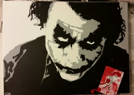 Custom made Stencil art of Heath Ledger as the Joker in The Dark Knight. Check this site out for more cool paintings!