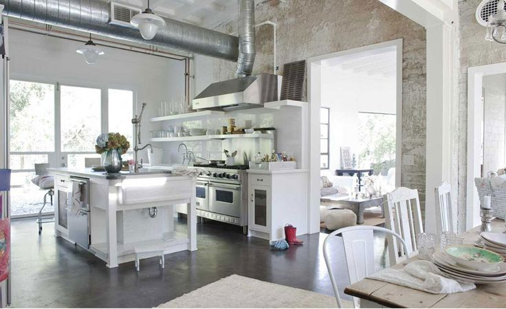 This kitchen...Shabby Chic Style, Dreams Kitchens, Open Spaces, Industrial Kitchens, Shabbychickitchen, Industrial Chic, Shabby Chic Kitchens, Open Kitchens, White Kitchens