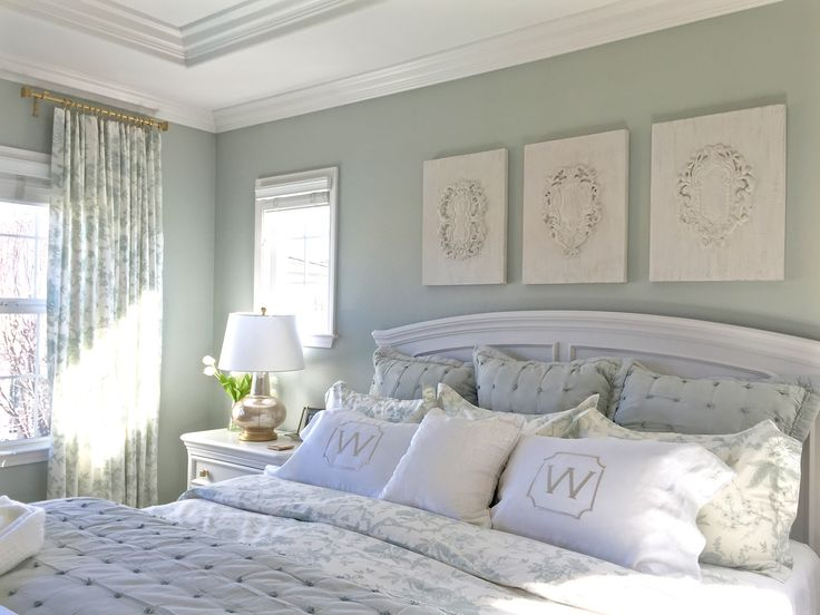 Master Bedroom Reveal with Ballard Designs.  Sherwin Williams' Elder White in a satin finish in the end and I'm thrilled with how it looks against the Silver Sage painted walls.
