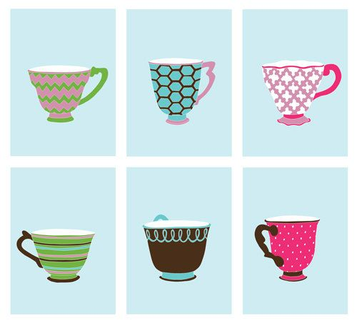 Girls room decor modern teacup prints set of 6 5 x 7 by NEVEstudio