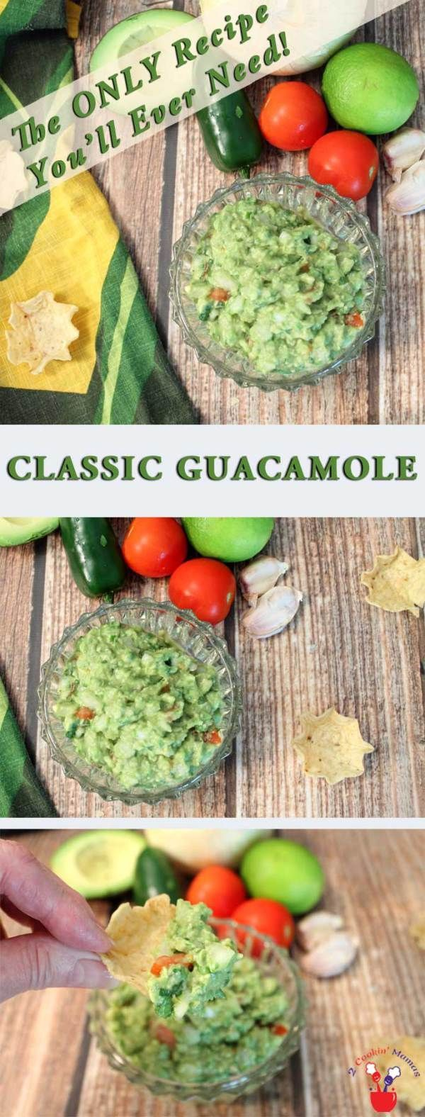 Classic-Guacamole-main | 2 Cookin Mamas The only recipe you'll ever need for a deliciously fresh, flavorful & delicious guacamole. So easy & perfect for any occasion. #dip #appetizer #avocados