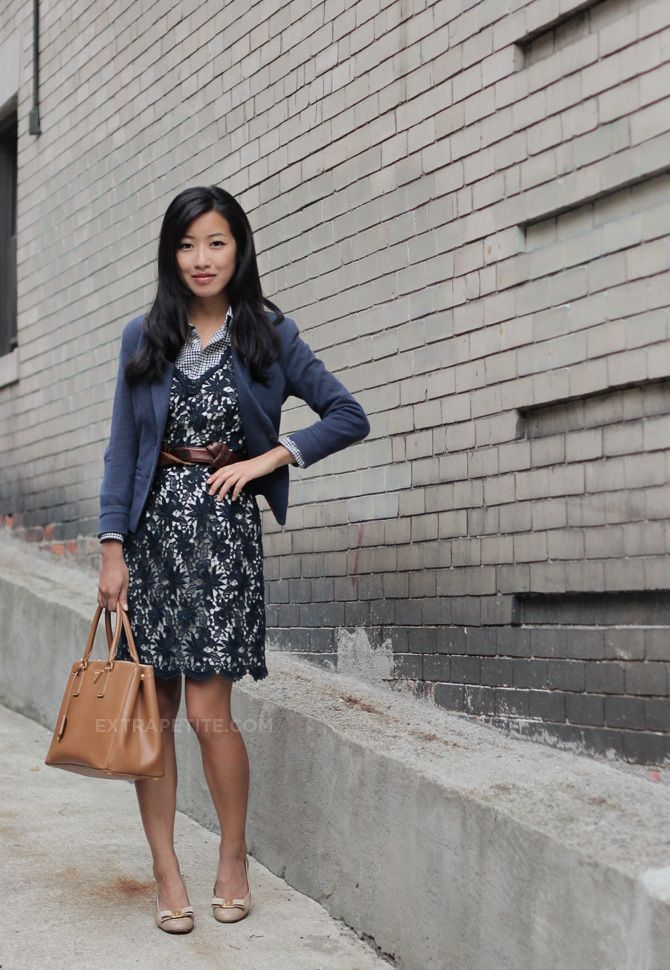Ann Taylor factory lace dress (similar), H knit blazer (similar ...