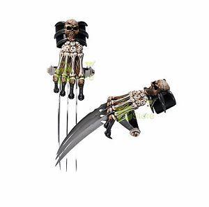 Demon-Zombie-Skull-amp-Bones-Tri-Bladed-Skeleton-Wolverine-Hand-Claw-Dagger