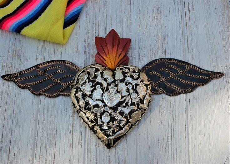 Mexican Folk Art Hand Crafted Wooden 'Sacred Heart' with 'Milagros' & Tin Wings