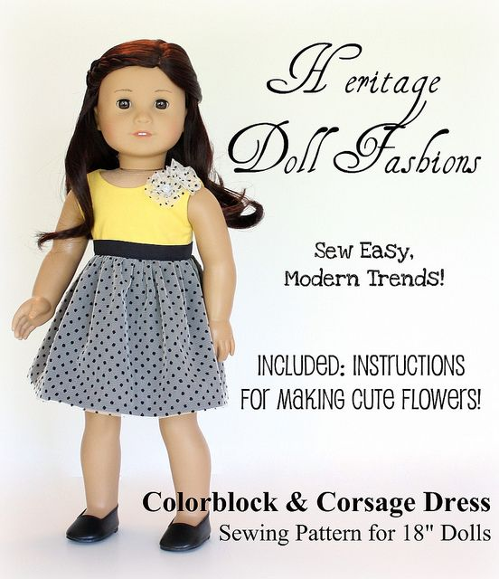 Colorblock Dress Pattern for dolls. Download, Print, Sew...