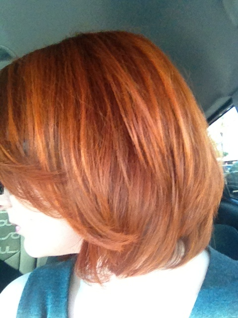 Henna day 1: Natural red henna maiden from Henna King, lemon juice, and green tea left on for about 3 hours. Hair feeling a little crunchy, but bright orange tones with highlights from previous dye showing through.