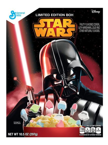 11 Star Wars-Themed Food Items Every Fan Needs in Their Life Right Now | STAR WARS CEREAL | Yoda, R2-D2, storm troopers, and light sabers are all available in marshmallow form in this Lucky Charms-esque limited-edition cereal.