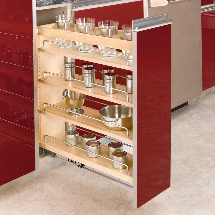 Rev A Shelf 448 Series 8 Inch Base Organizer With Adjustable Shelves  Natural Wood Base Cabinet Organizers Pull Out Organizers Shelves