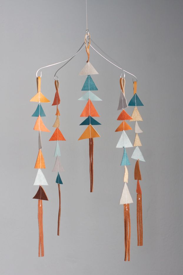 Leather triangle baby mobile (by Alison Faulkner)