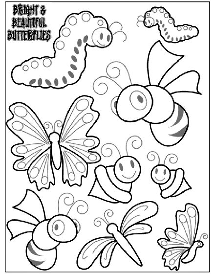color in these bright and beautiful butterflies for a fun coloring activity